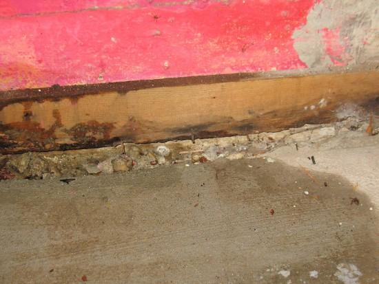 Water damage caused by a slab leak